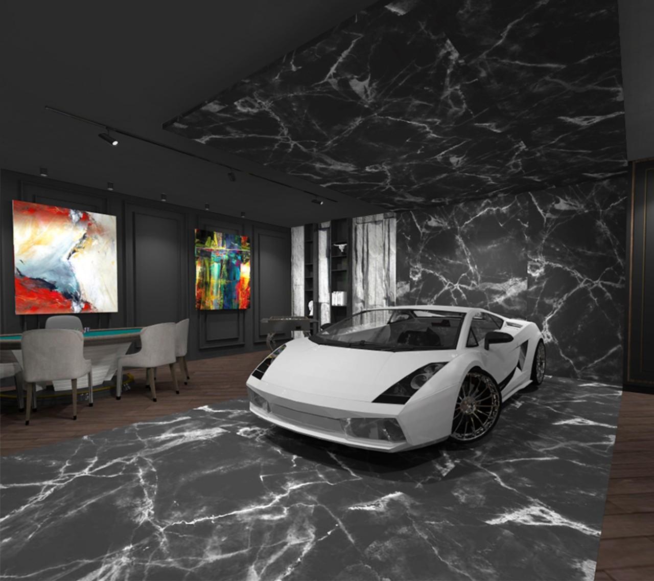 Garažo interjeras su automobiliu