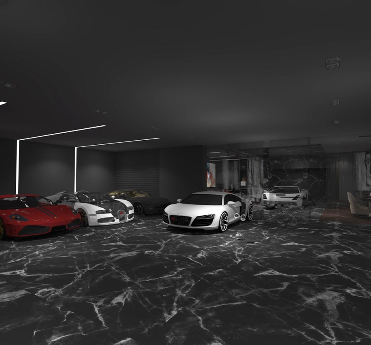 Garažo interjeras su automobiliais