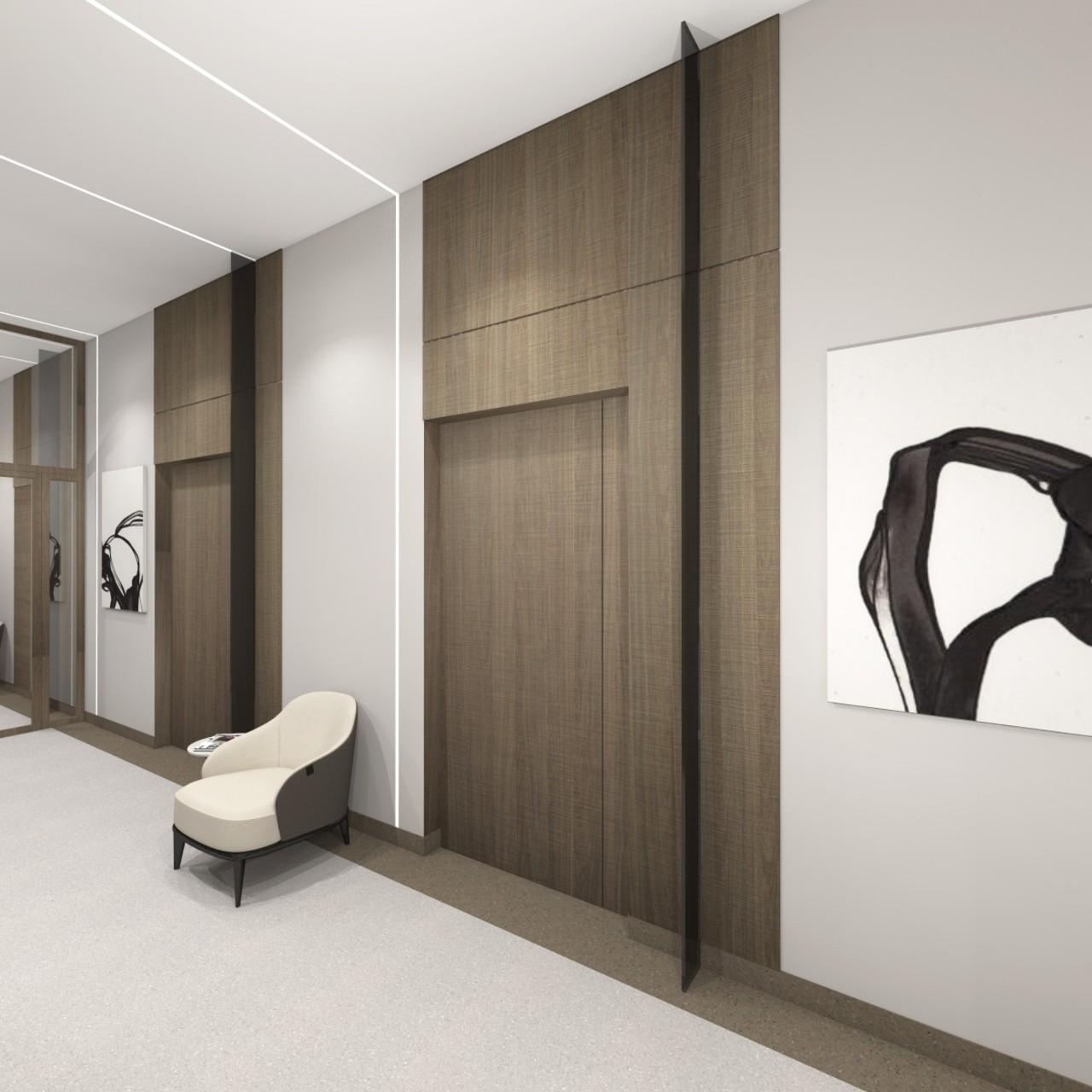 Ofiso ir biuro interjeras stilingas koridorius