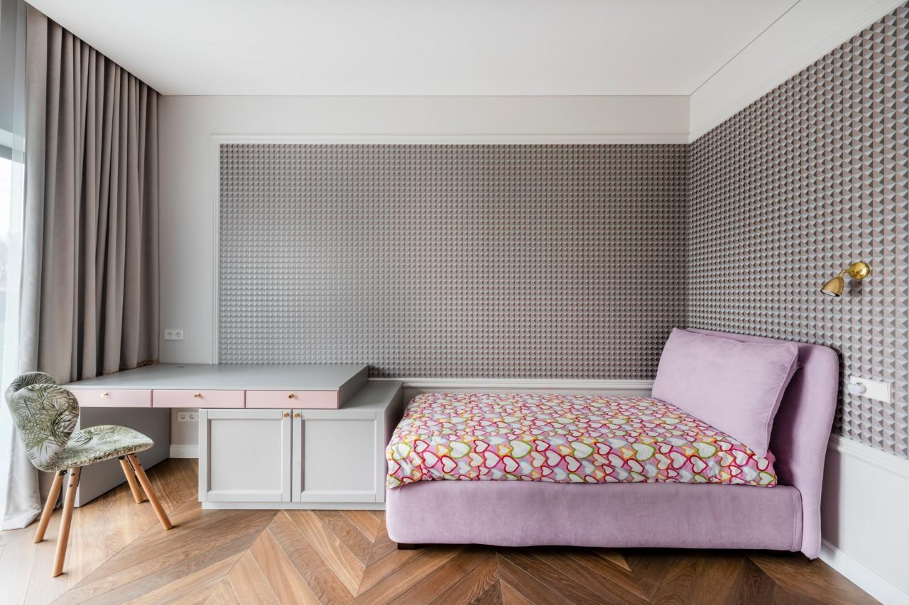 Pailgo kambario interjeras miegamajame