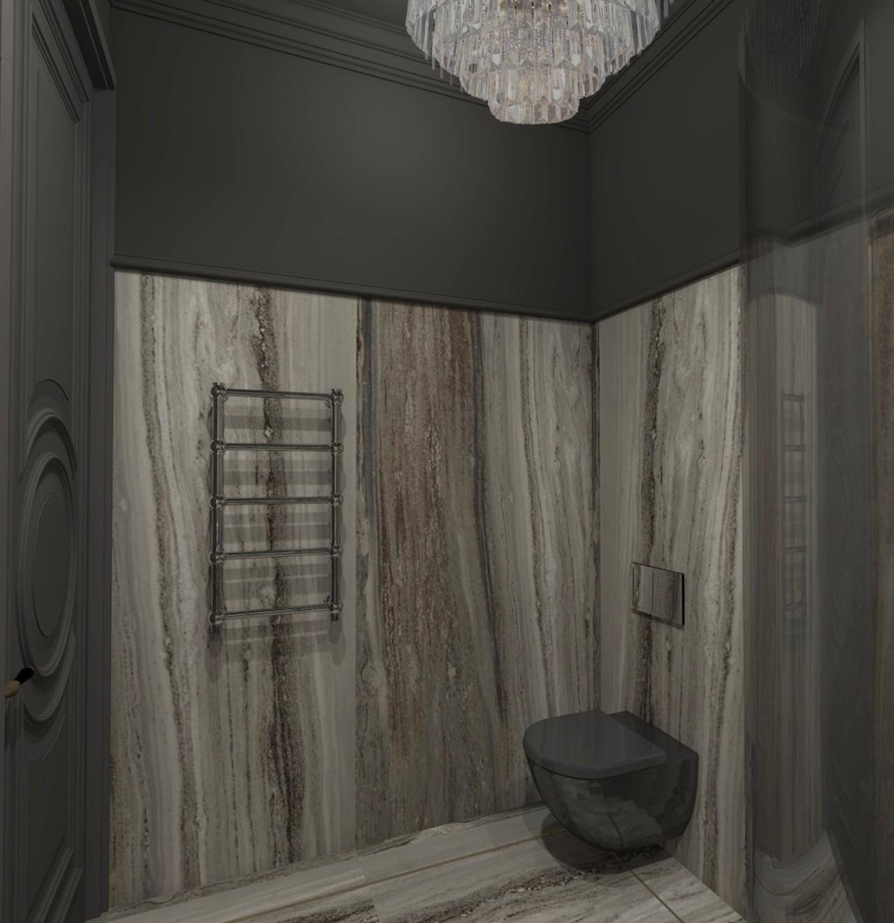 Rūsio interjeras su vonia