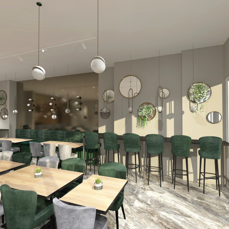 Restorano interjeras su baro kėdėmis