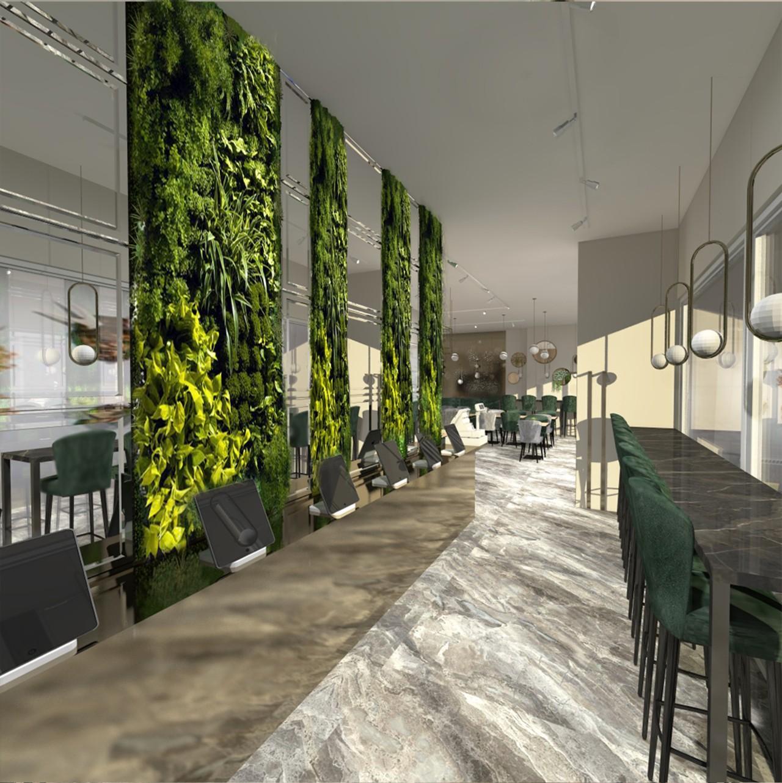 Restorano interjeras žalias